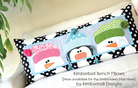 KD514 Kimberbell Whimsy Winter Bench Pillow Embroidery CD