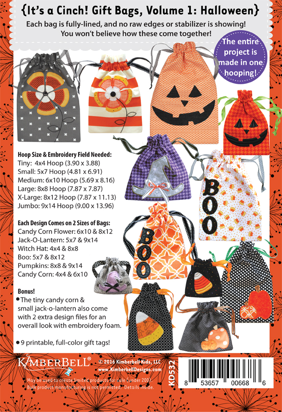 Kimberbell It/'s A Cinch Gift Bags Volume 1 Halloween CD