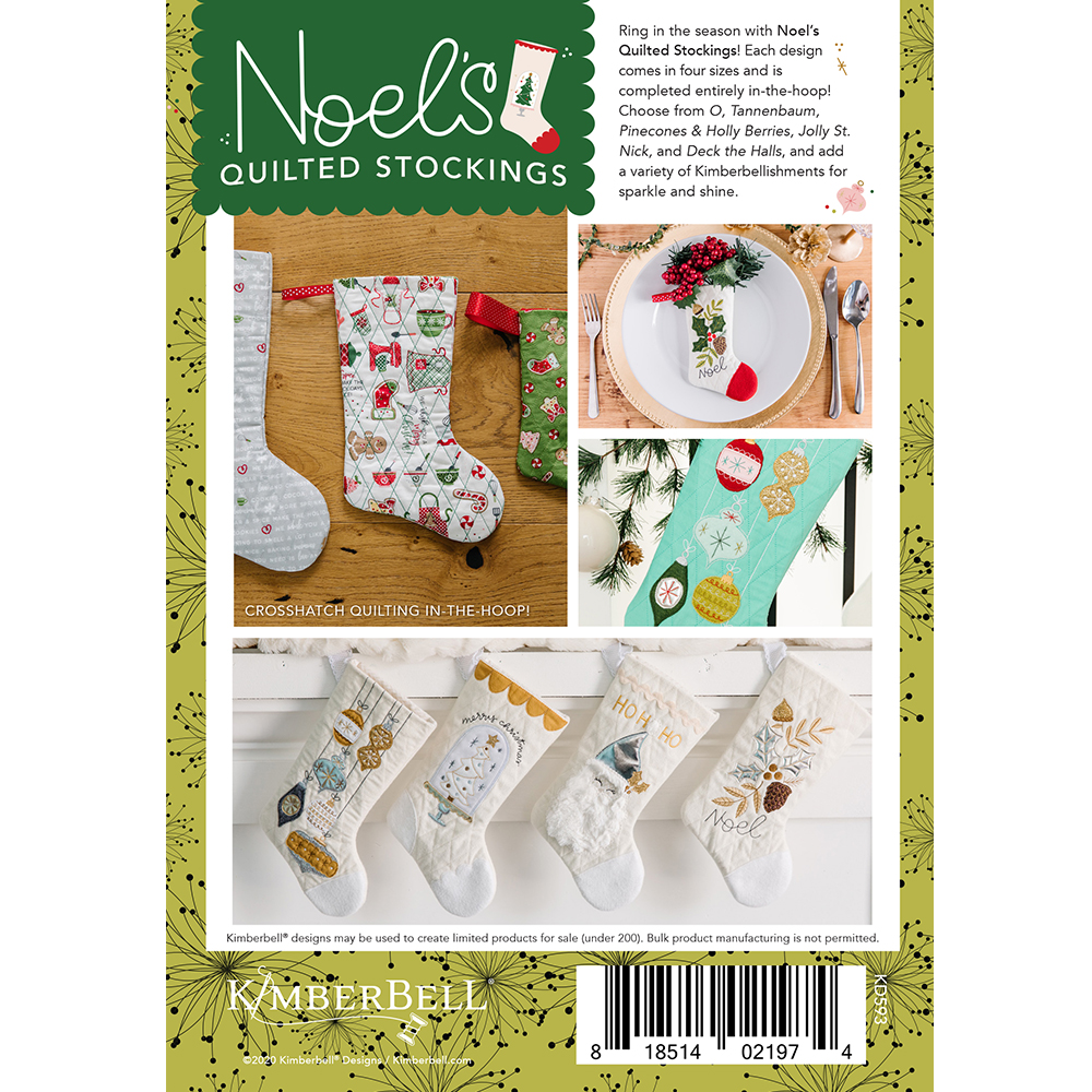 Kimberbell Machine Embroidery CD Noel/'s Quilted Stockings KD593